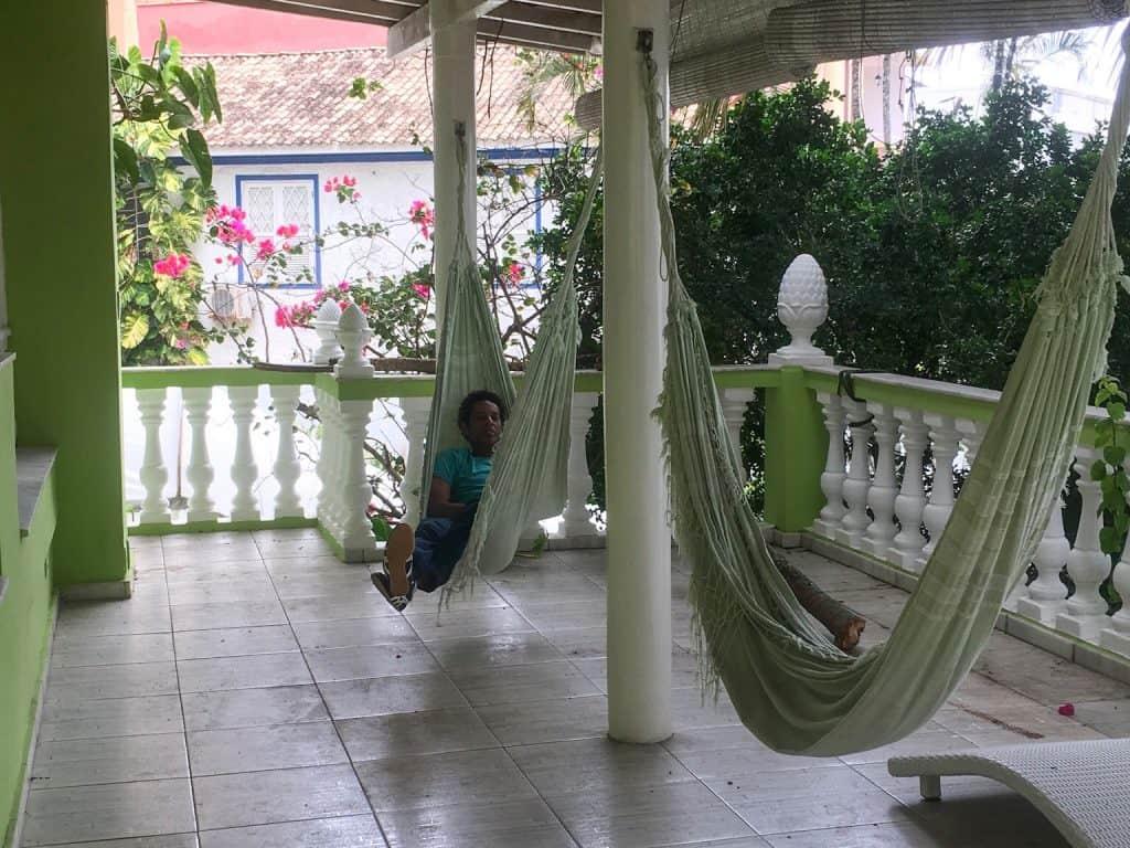 Man relaxing in hammock