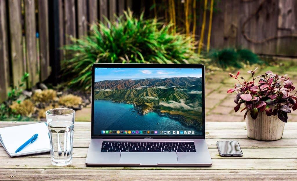 Laptop in a garden