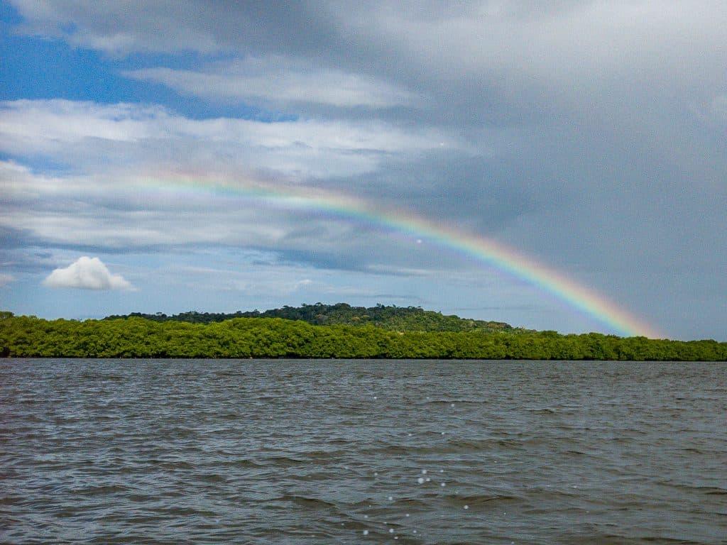 Rainbow over an island
